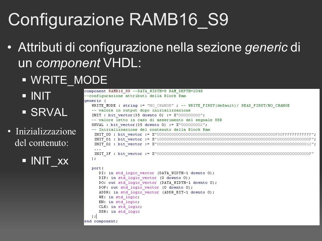 Configurazione RAMB16_S9 Attributi di configurazione nella sezione generic di un component VHDL: WRITE_MODE INIT SRVAL INIT_xx Inizializzazione del contenuto: