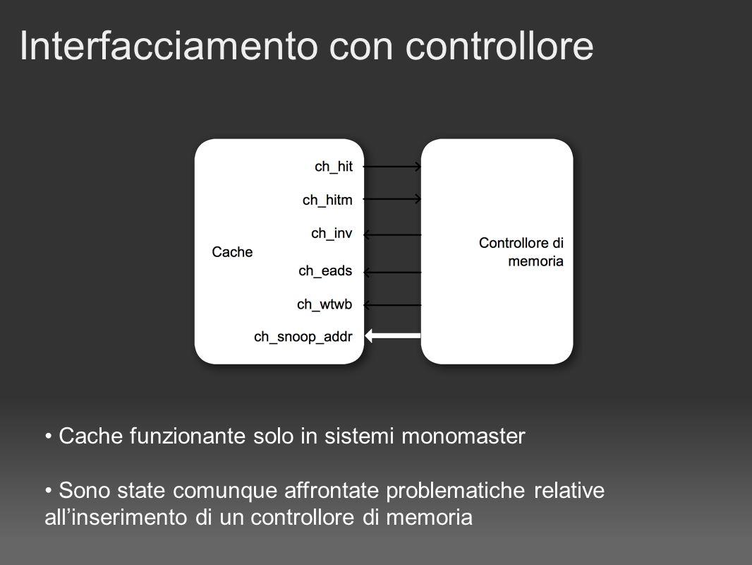 Interfacciamento con controllore Cache funzionante solo in sistemi monomaster Sono state comunque affrontate problematiche relative allinserimento di un controllore di memoria