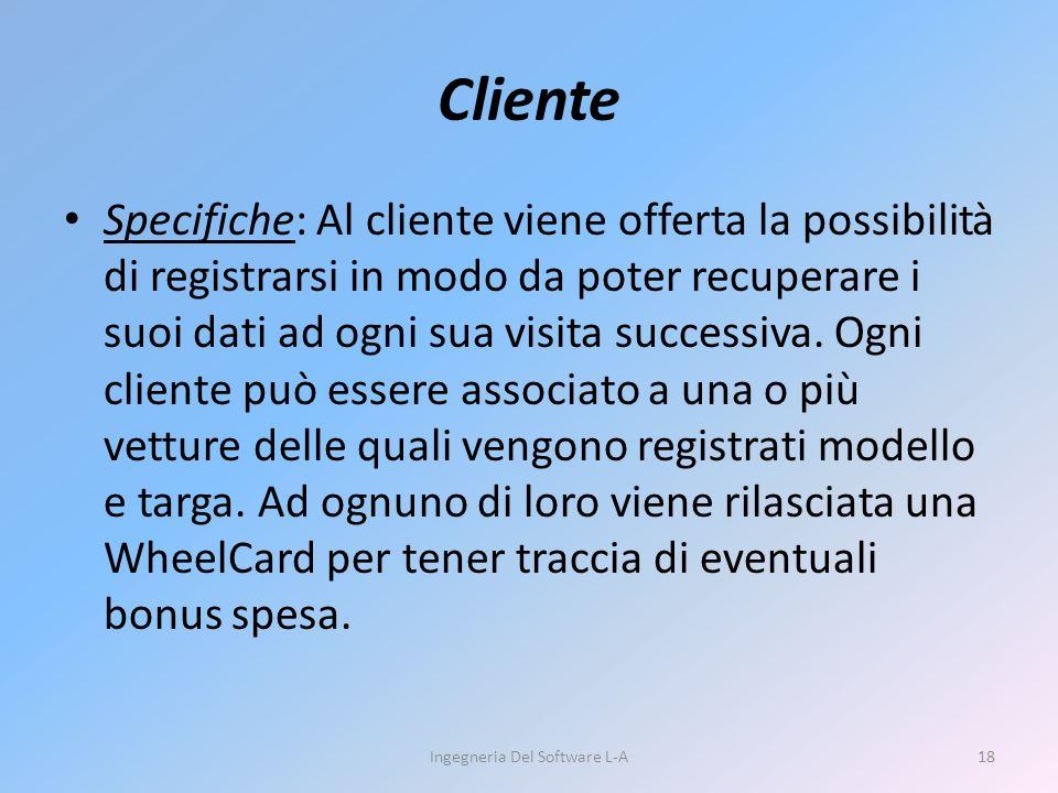 Specifiche: Al cliente viene offerta la possibilità di registrarsi in modo da poter recuperare i suoi dati ad ogni sua visita successiva.