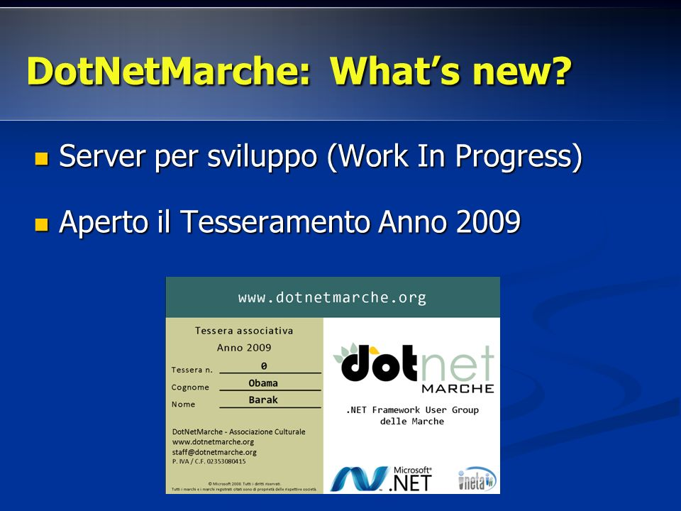 DotNetMarche: Whats new.