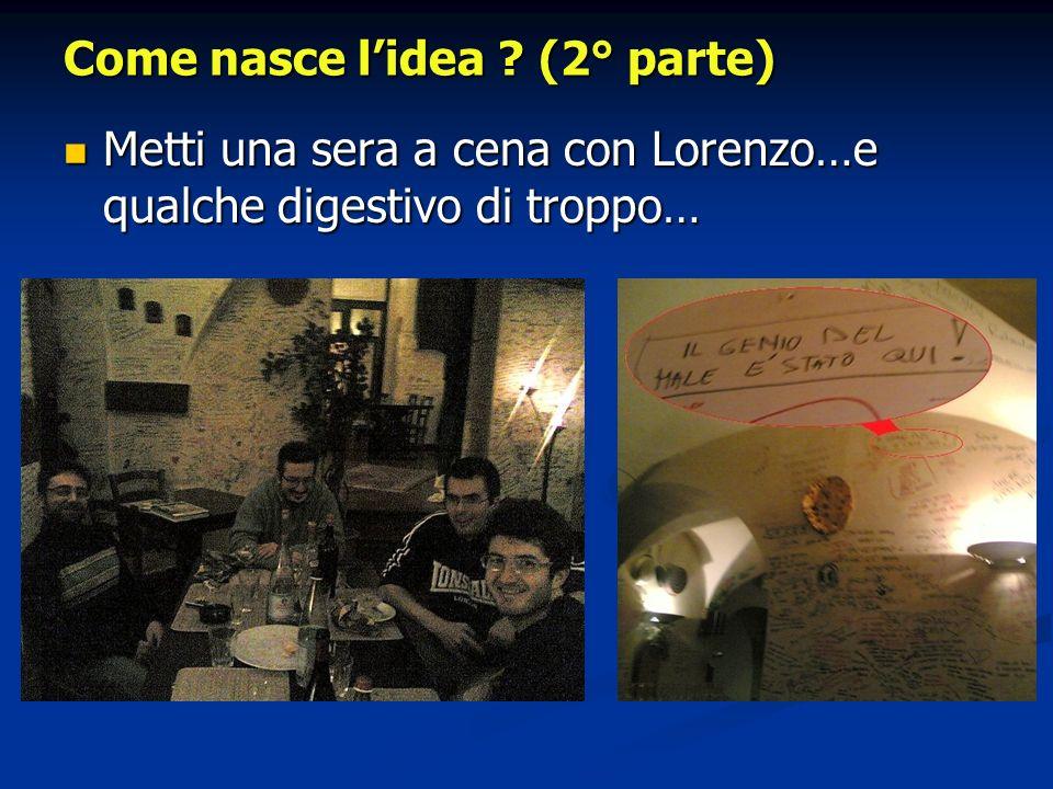 Come nasce lidea ? (2° parte) Metti una sera a cena con Lorenzo…e qualche digestivo di troppo… Metti una sera a cena con Lorenzo…e qualche digestivo d