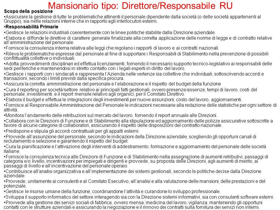 Mansionario tipo: Responsabile Compensation&benefit Relazioni interne Direzione Amministrazione e Finanza.