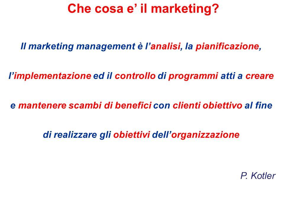 Il marketing management è lanalisi, la pianificazione, limplementazione ed il controllo di programmi atti a creare e mantenere scambi di benefici con