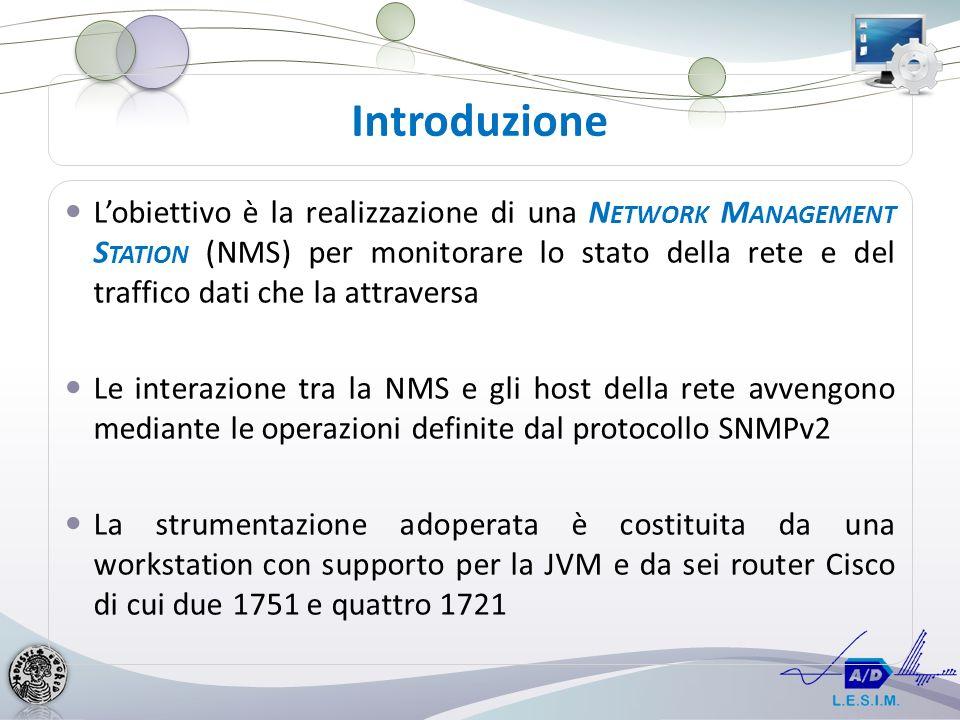 Lobiettivo è la realizzazione di una N ETWORK M ANAGEMENT S TATION (NMS) per monitorare lo stato della rete e del traffico dati che la attraversa Le interazione tra la NMS e gli host della rete avvengono mediante le operazioni definite dal protocollo SNMPv2 La strumentazione adoperata è costituita da una workstation con supporto per la JVM e da sei router Cisco di cui due 1751 e quattro 1721 Introduzione