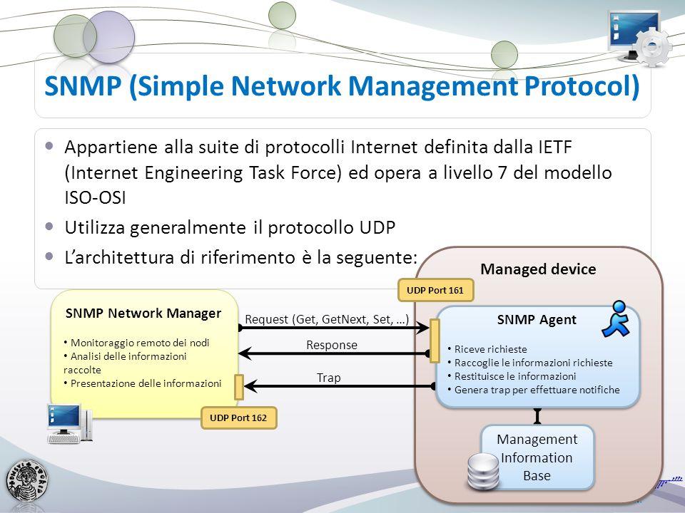 Un Management Information Base (MIB) è un tipo di database (virtuale) che comprende una collezione di oggetti, usato per gestire le entità appartenenti ad una rete Il formato dei MIB è definito come parte di SNMP Structure Management Information (SMI) è una notazione che definisce come devono essere strutturate le informazioni e la loro gerarchia per essere inserite nel database MIB Il MIB ha una struttura ad albero detta MIB-Tree: ad ogni nodo dellalbero viene associato un numero ogni oggetto ha un identificatore univoco (OID) dato dalla sequenza dei valori numerici che compongono il percorso dalla radice alloggetto stesso Management Information Base (MIB) root iso (1) org (3) ccitt (0) joint-iso-ccitt (3) internet (1) experimental (3) directory (1) mgmt (2) mib (1) system (1) interfaces (2) ip (4) snmp (11) RMON (16) RMON2 (17)