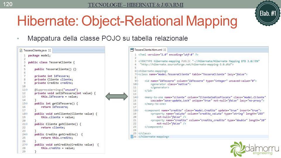 Hibernate: Object-Relational Mapping Mappatura della classe POJO su tabella relazionale TECNOLOGIE – HIBERNATE & JAVA RMI 120