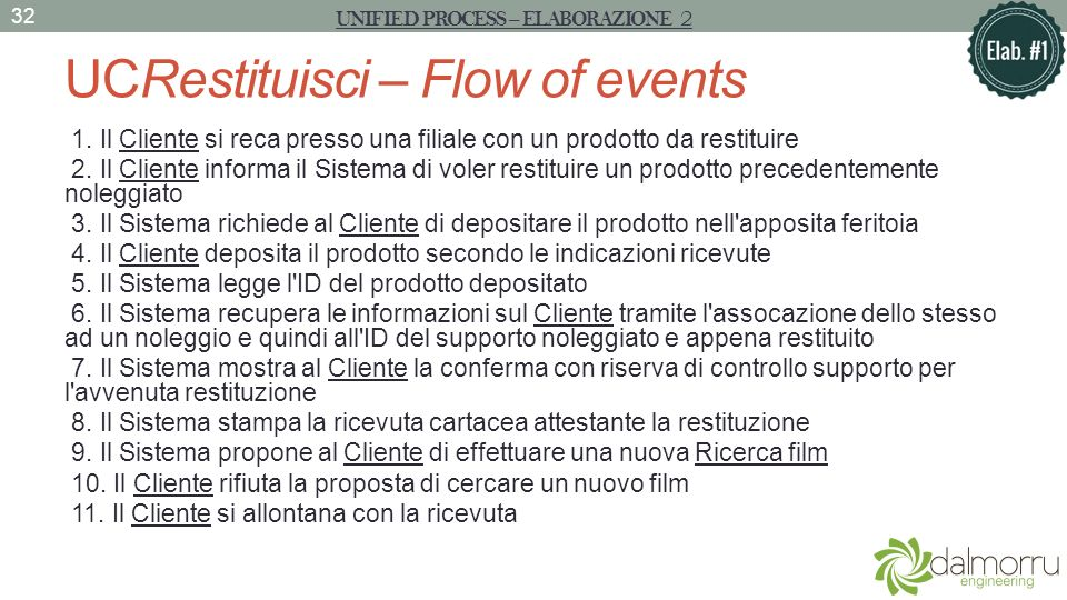 UCRestituisci – Flow of events 1.