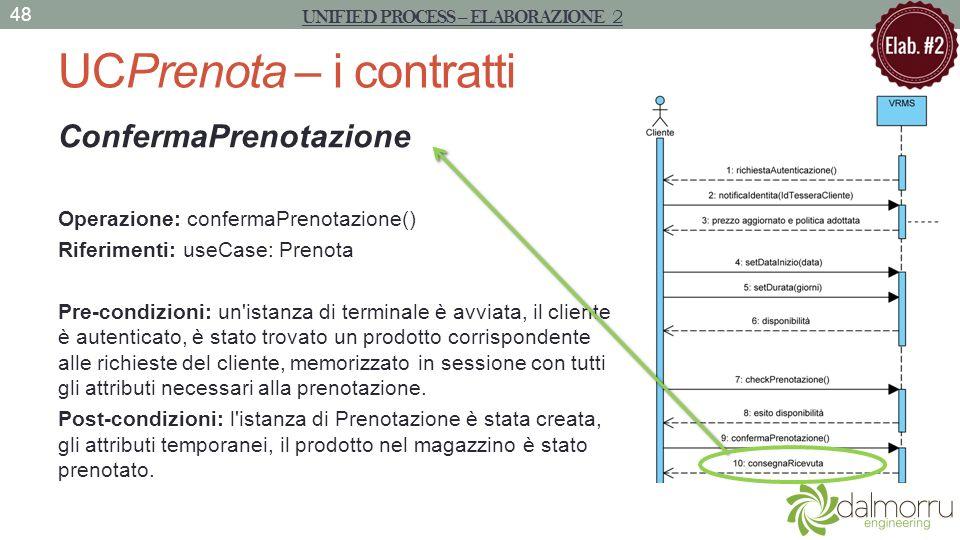 UCPrenota – i contratti ConfermaPrenotazione Operazione: confermaPrenotazione() Riferimenti: useCase: Prenota Pre-condizioni: un'istanza di terminale