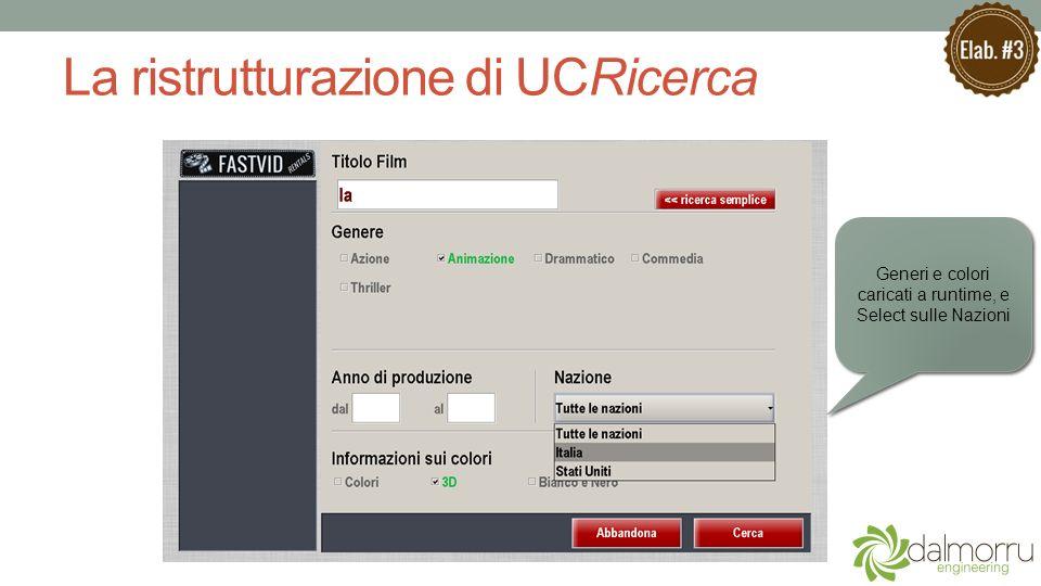 La ristrutturazione di UCRicerca Generi e colori caricati a runtime, e Select sulle Nazioni Generi e colori caricati a runtime, e Select sulle Nazioni
