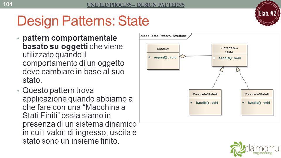 Design Patterns: State pattern comportamentale basato su oggetti che viene utilizzato quando il comportamento di un oggetto deve cambiare in base al s