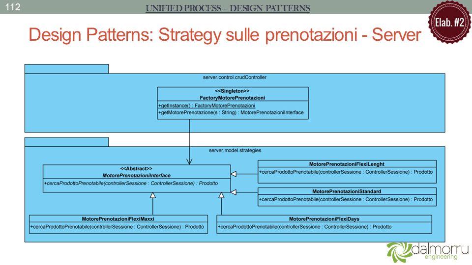 Design Patterns: Strategy sulle prenotazioni - Server 112 UNIFIED PROCESS – DESIGN PATTERNS