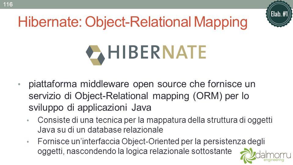 Hibernate: Object-Relational Mapping piattaforma middleware open source che fornisce un servizio di Object-Relational mapping (ORM) per lo sviluppo di