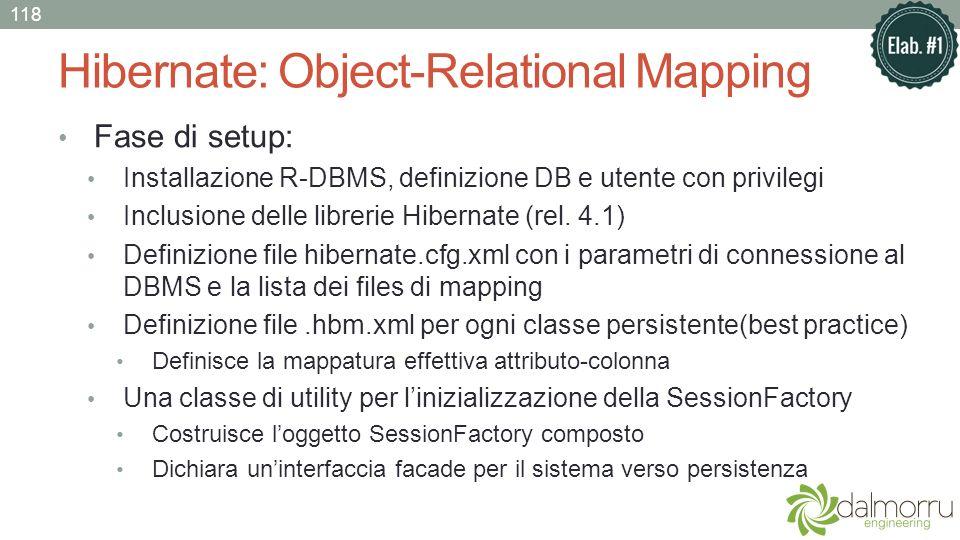 Hibernate: Object-Relational Mapping Fase di setup: Installazione R-DBMS, definizione DB e utente con privilegi Inclusione delle librerie Hibernate (r
