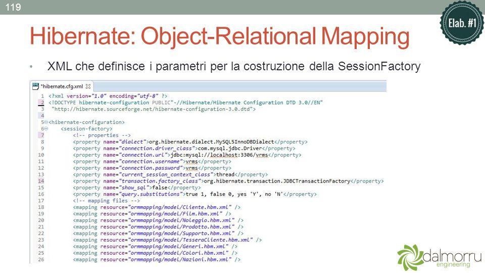 Hibernate: Object-Relational Mapping XML che definisce i parametri per la costruzione della SessionFactory 119