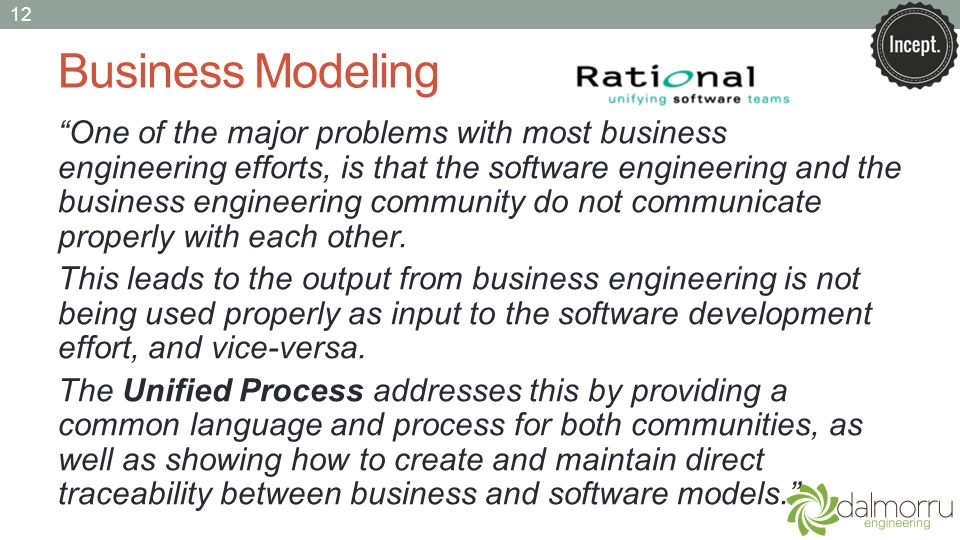 Business Modeling One of the major problems with most business engineering efforts, is that the software engineering and the business engineering comm