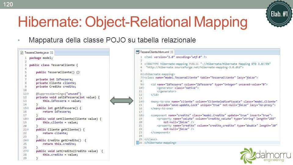 Hibernate: Object-Relational Mapping Mappatura della classe POJO su tabella relazionale 120