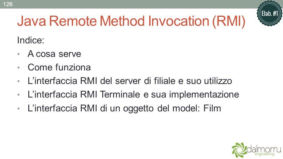 Java Remote Method Invocation (RMI) Indice: A cosa serve Come funziona Linterfaccia RMI del server di filiale e suo utilizzo Linterfaccia RMI Terminal