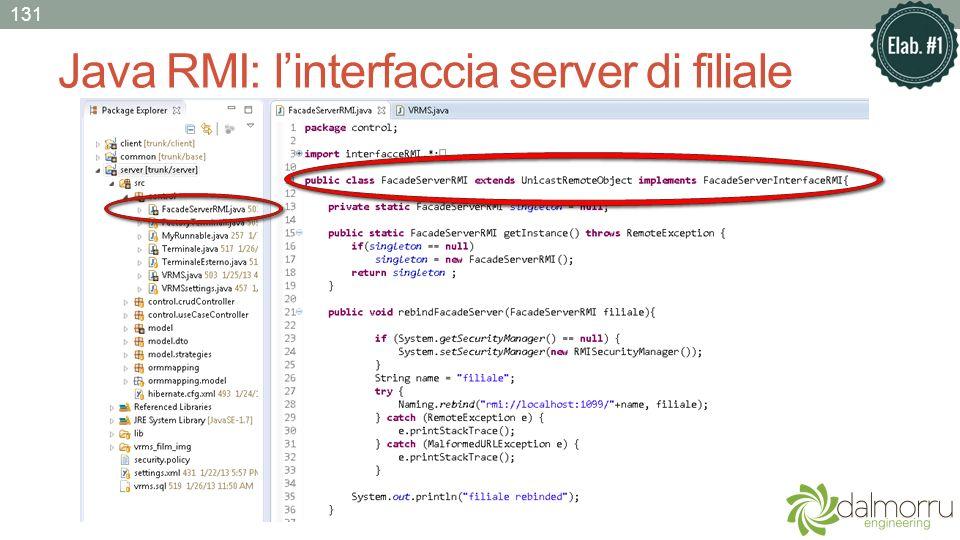 Java RMI: linterfaccia server di filiale 131