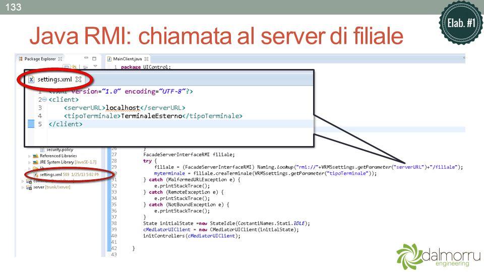 Java RMI: chiamata al server di filiale 133