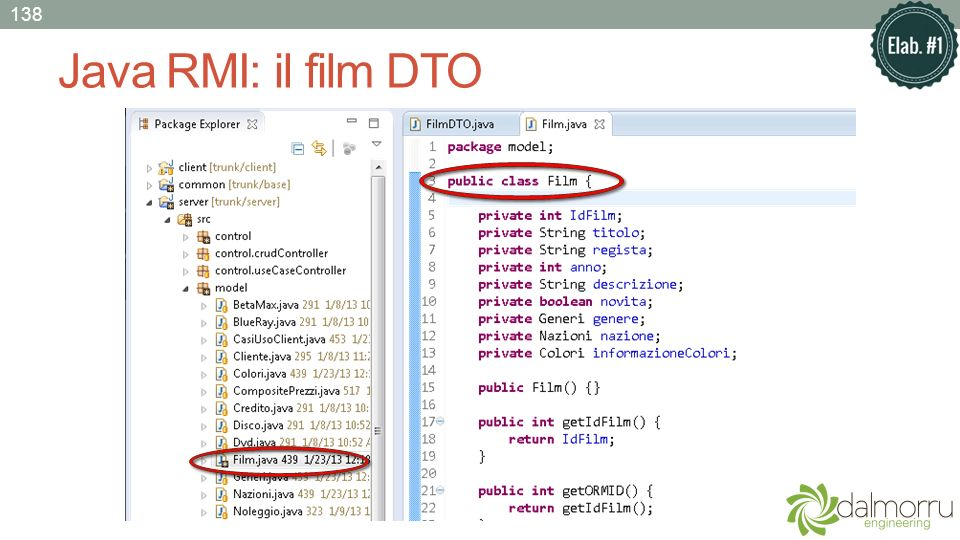 Java RMI: il film DTO 138