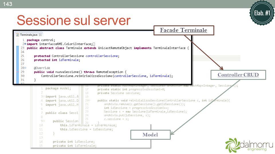 Sessione sul server Facade Terminale 143