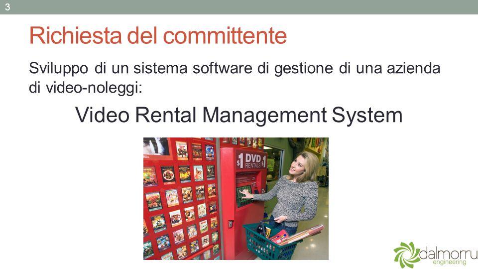 Richiesta del committente Sviluppo di un sistema software di gestione di una azienda di video-noleggi: Video Rental Management System 3
