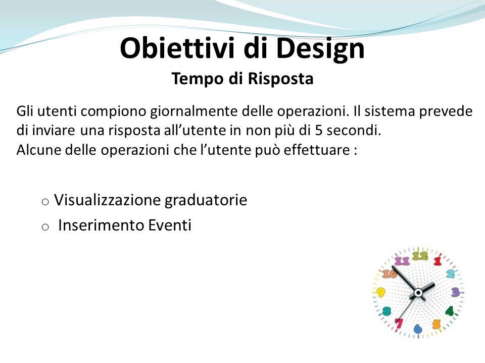 Obiettivi di Design Tempo di Risposta Gli utenti compiono giornalmente delle operazioni.