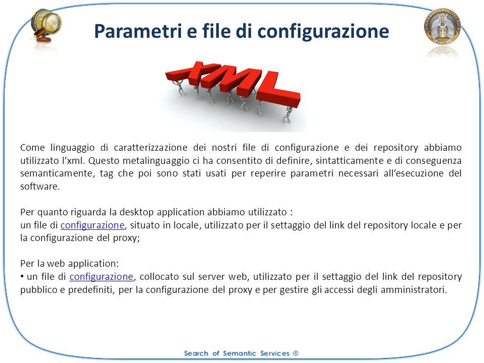 Parametri e file di configurazione Come linguaggio di caratterizzazione dei nostri file di configurazione e dei repository abbiamo utilizzato lxml. Qu
