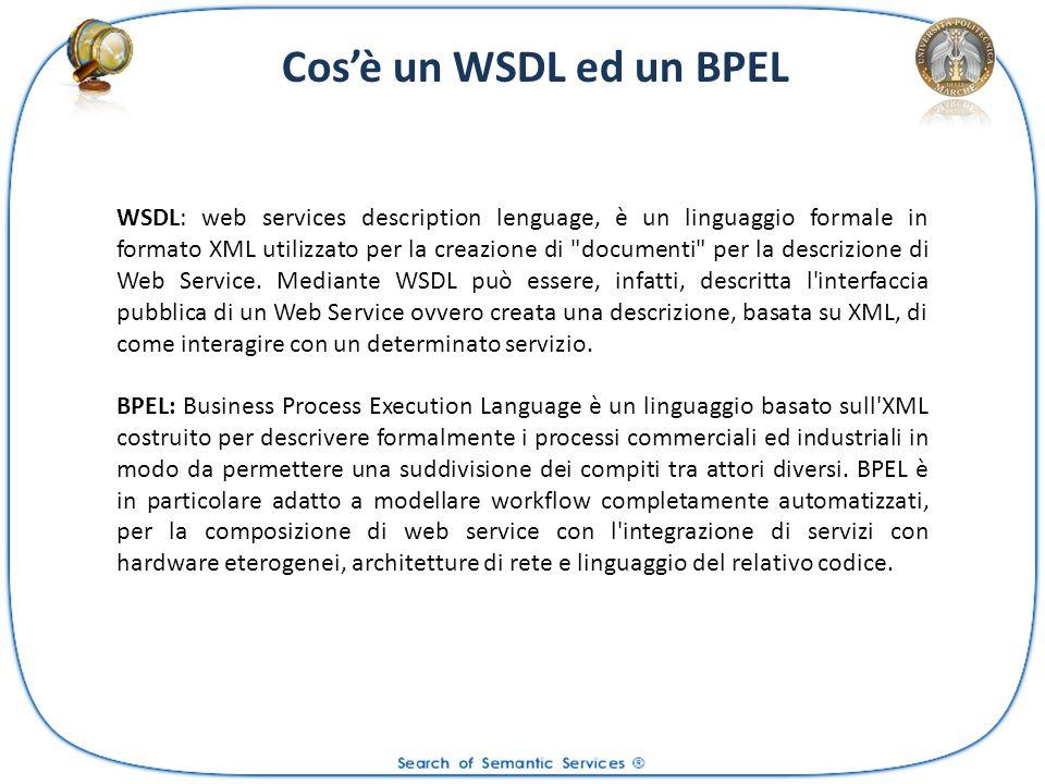 WSDL: web services description lenguage, è un linguaggio formale in formato XML utilizzato per la creazione di