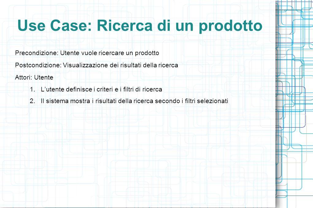 Use Case: Ricerca di un prodotto Precondizione: Utente vuole ricercare un prodotto Postcondizione: Visualizzazione dei risultati della ricerca Attori: Utente 1.Lutente definisce i criteri e i filtri di ricerca 2.Il sistema mostra i risultati della ricerca secondo i filtri selezionati