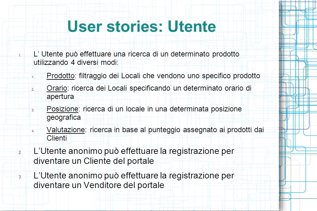 User stories: Utente 1.