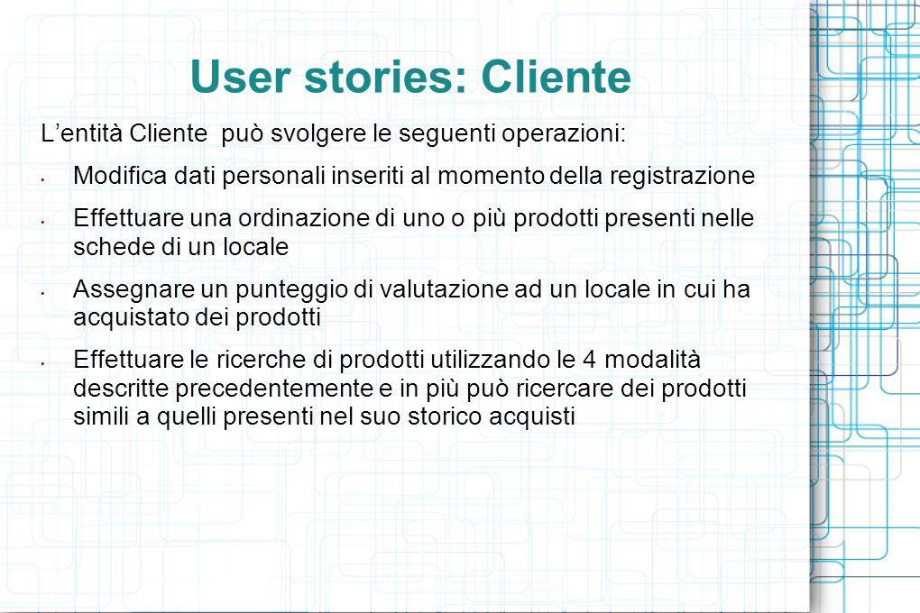 User stories: Venditore Il Venditore puo modificare solo alcuni dei propri dati personali, cioe indirizzo, telefono, username e password, mentre non puo modificare nome, cognome, CF data di nascita ed email.