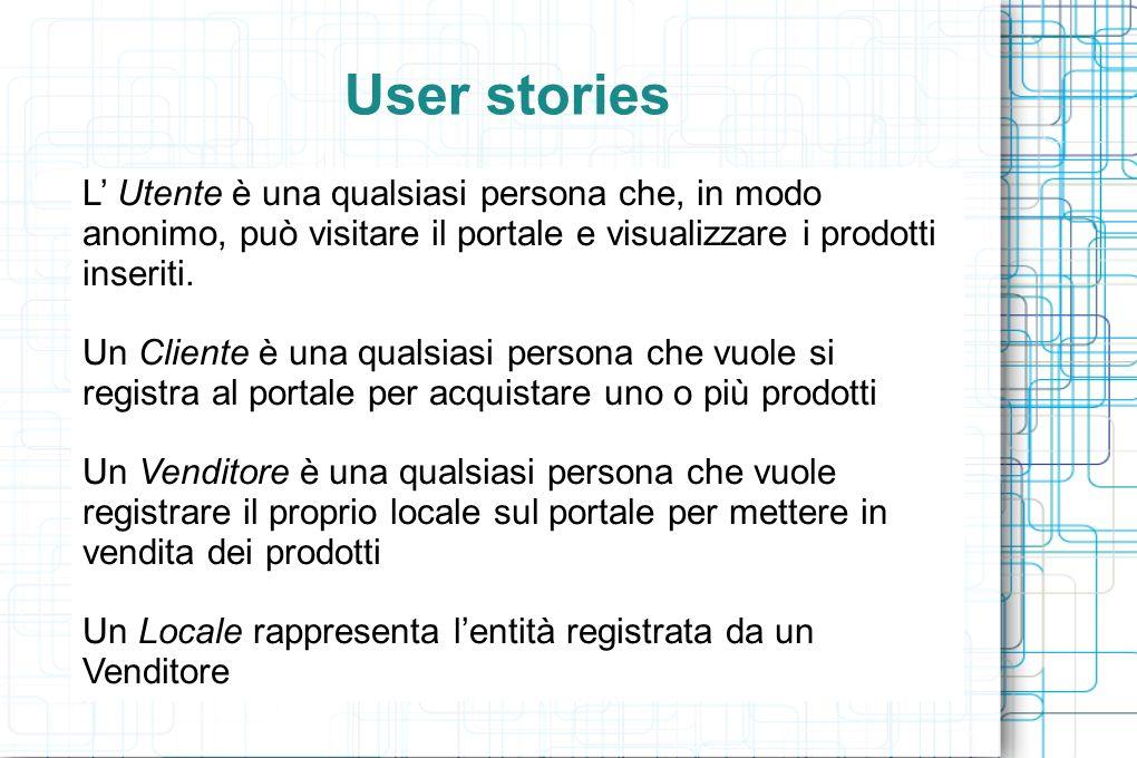 User stories L Utente è una qualsiasi persona che, in modo anonimo, può visitare il portale e visualizzare i prodotti inseriti.