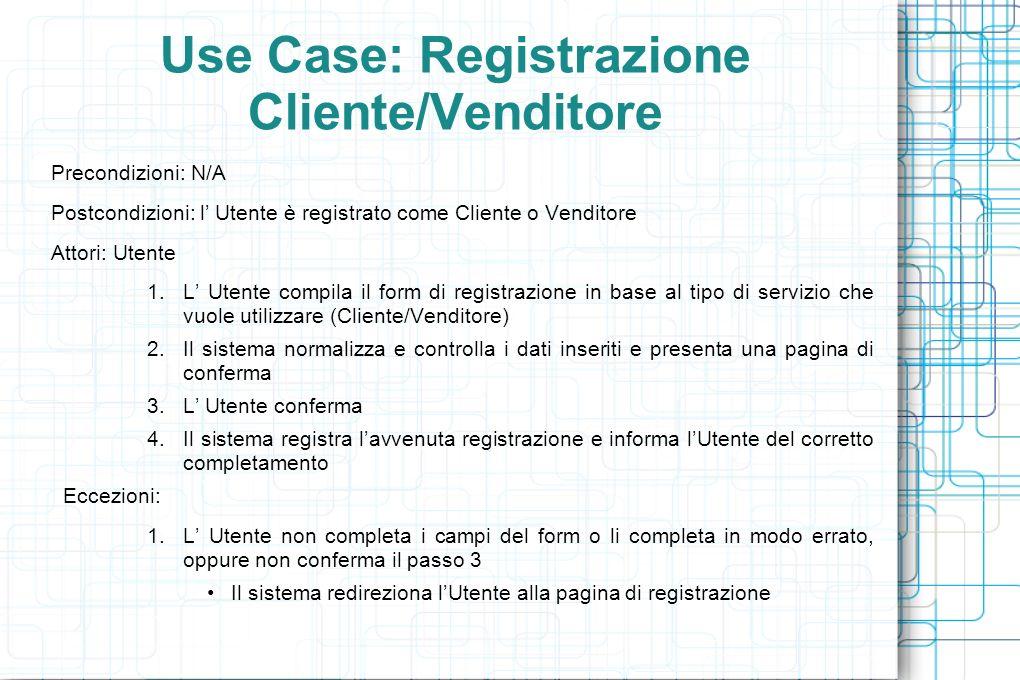 Use Case: Registrazione Cliente/Venditore Precondizioni: N/A Postcondizioni: l Utente è registrato come Cliente o Venditore Attori: Utente 1.L Utente compila il form di registrazione in base al tipo di servizio che vuole utilizzare (Cliente/Venditore) 2.Il sistema normalizza e controlla i dati inseriti e presenta una pagina di conferma 3.L Utente conferma 4.Il sistema registra lavvenuta registrazione e informa lUtente del corretto completamento Eccezioni: 1.L Utente non completa i campi del form o li completa in modo errato, oppure non conferma il passo 3 Il sistema redireziona lUtente alla pagina di registrazione