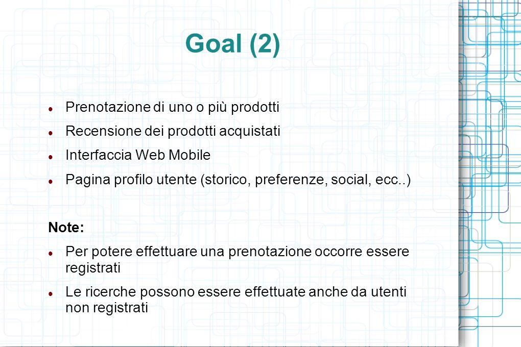 Goal (2) Prenotazione di uno o più prodotti Recensione dei prodotti acquistati Interfaccia Web Mobile Pagina profilo utente (storico, preferenze, social, ecc..) Note: Per potere effettuare una prenotazione occorre essere registrati Le ricerche possono essere effettuate anche da utenti non registrati