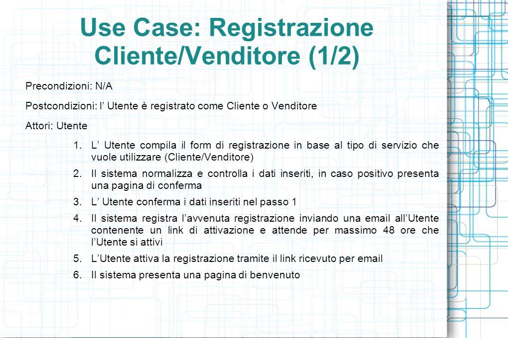 Use Case: Registrazione Cliente/Venditore (1/2) Precondizioni: N/A Postcondizioni: l Utente è registrato come Cliente o Venditore Attori: Utente 1.L Utente compila il form di registrazione in base al tipo di servizio che vuole utilizzare (Cliente/Venditore) 2.Il sistema normalizza e controlla i dati inseriti, in caso positivo presenta una pagina di conferma 3.L Utente conferma i dati inseriti nel passo 1 4.Il sistema registra lavvenuta registrazione inviando una email allUtente contenente un link di attivazione e attende per massimo 48 ore che lUtente si attivi 5.LUtente attiva la registrazione tramite il link ricevuto per email 6.Il sistema presenta una pagina di benvenuto