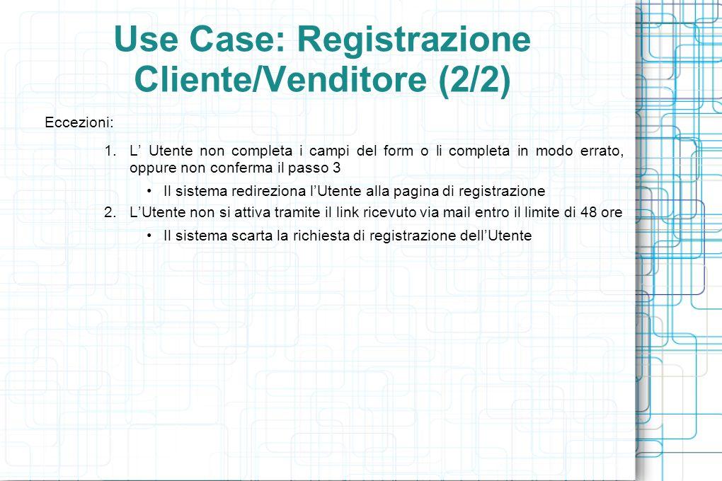 Use Case: Registrazione Cliente/Venditore (2/2) Eccezioni: 1.L Utente non completa i campi del form o li completa in modo errato, oppure non conferma il passo 3 Il sistema redireziona lUtente alla pagina di registrazione 2.LUtente non si attiva tramite il link ricevuto via mail entro il limite di 48 ore Il sistema scarta la richiesta di registrazione dellUtente