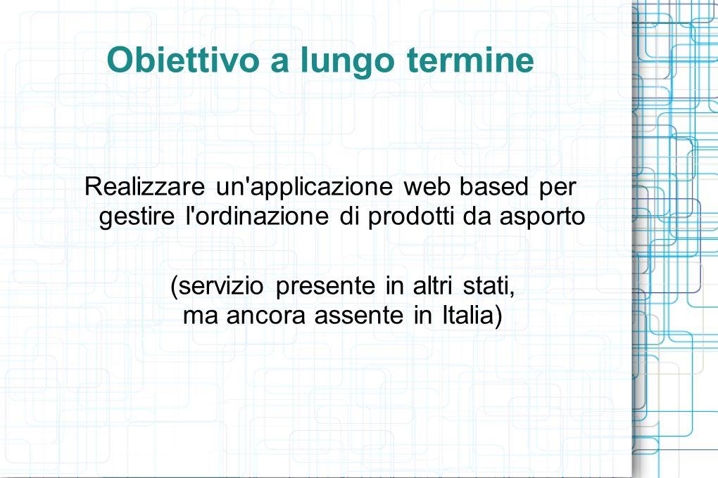 Obiettivo a lungo termine Realizzare un applicazione web based per gestire l ordinazione di prodotti da asporto (servizio presente in altri stati, ma ancora assente in Italia)