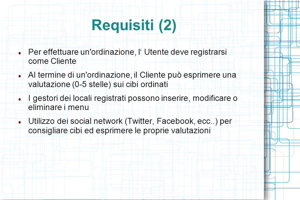 Requisiti (2) Per effettuare un ordinazione, l Utente deve registrarsi come Cliente Al termine di un ordinazione, il Cliente può esprimere una valutazione (0-5 stelle) sui cibi ordinati I gestori dei locali registrati possono inserire, modificare o eliminare i menu Utilizzo dei social network (Twitter, Facebook, ecc..) per consigliare cibi ed esprimere le proprie valutazioni