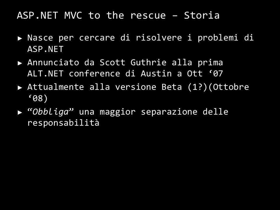 ASP.NET MVC to the rescue – Storia Nasce per cercare di risolvere i problemi di ASP.NET Annunciato da Scott Guthrie alla prima ALT.NET conference di Austin a Ott 07 Attualmente alla versione Beta (1?)(Ottobre 08) Obbliga una maggior separazione delle responsabilità 17