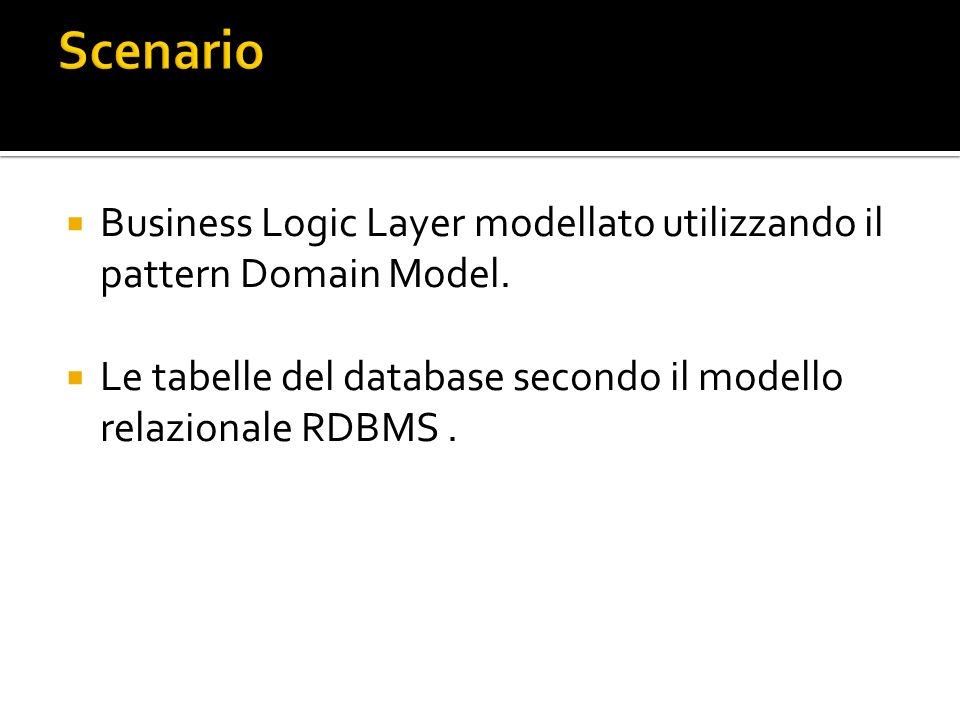 Business Logic Layer modellato utilizzando il pattern Domain Model.