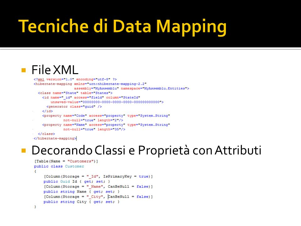 File XML Decorando Classi e Proprietà con Attributi