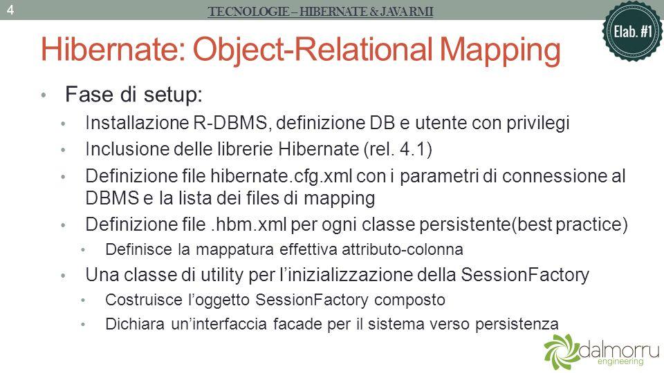 Hibernate: Object-Relational Mapping XML che definisce i parametri per la costruzione della SessionFactory TECNOLOGIE – HIBERNATE & JAVA RMI 5