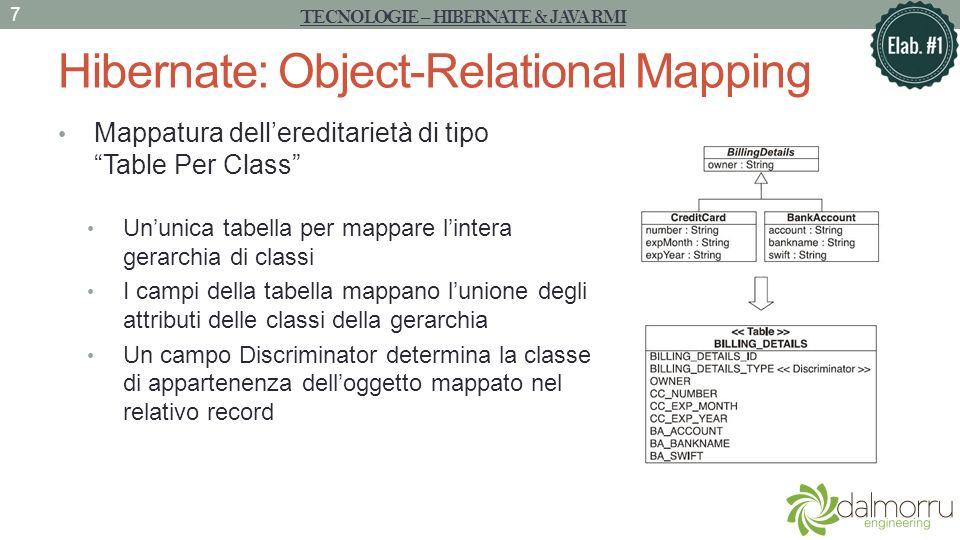 Hibernate: Object-Relational Mapping La classe Facade Persistence Classe Singleton per la visibilità Costruisce la SessionFactory allinterno del costruttore, richiamato al primo accesso al metodo getInstance() Dichiara unintercaccia Facade per la nostra applicazione verso le principali funzionalità dello strato di persistenza Può essere interpretata come una classe Adapter, in quanto rappresenta un livello di indirezione rispetto allinterfaccia del livello sottostante TECNOLOGIE – HIBERNATE & JAVA RMI 8