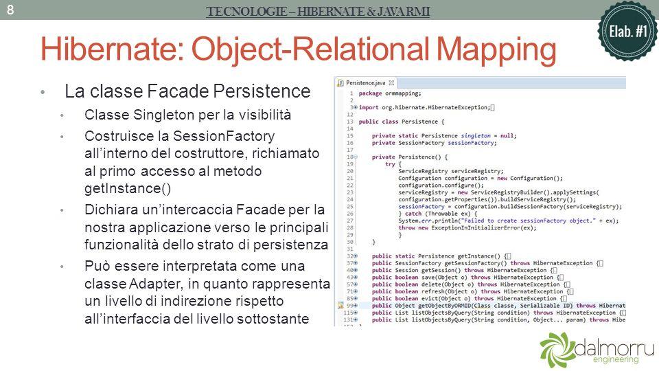 Hibernate: Object-Relational Mapping La classe Facade Persistence Classe Singleton per la visibilità Costruisce la SessionFactory allinterno del costr