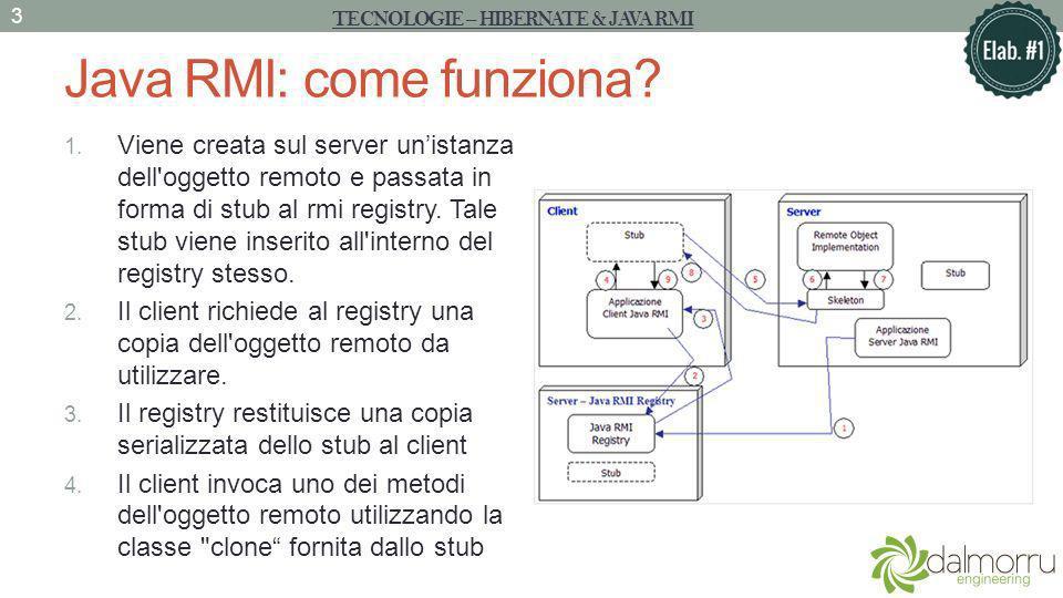 Java RMI: come funziona? 1. Viene creata sul server unistanza dell'oggetto remoto e passata in forma di stub al rmi registry. Tale stub viene inserito