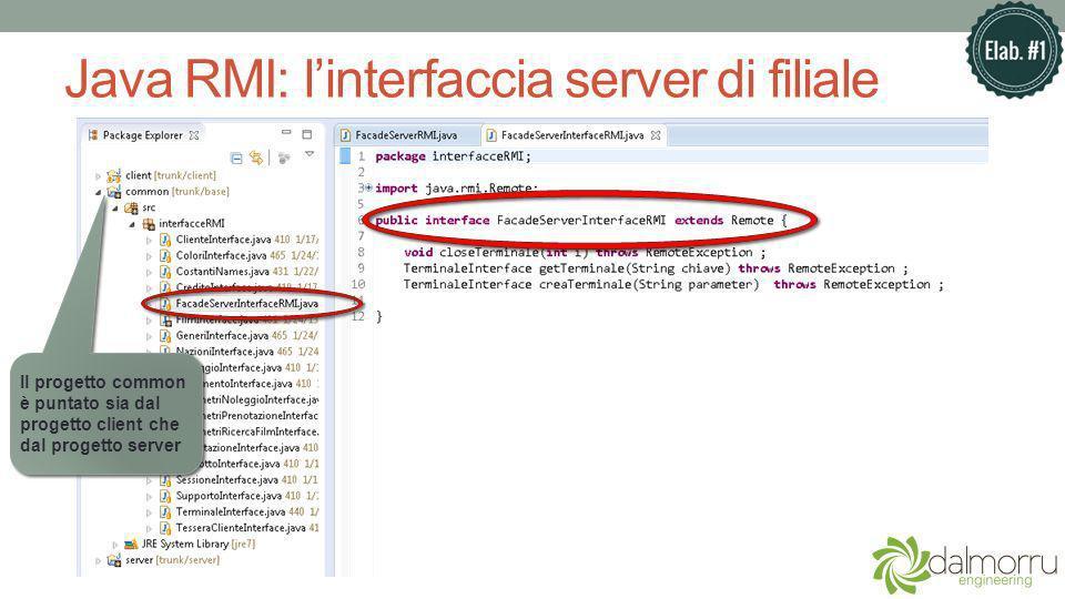 Java RMI: linterfaccia server di filiale Il progetto common è puntato sia dal progetto client che dal progetto server
