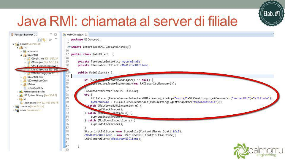 Java RMI: chiamata al server di filiale