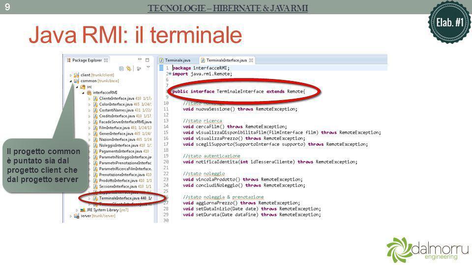 Java RMI: il terminale TECNOLOGIE – HIBERNATE & JAVA RMI 9 Il progetto common è puntato sia dal progetto client che dal progetto server