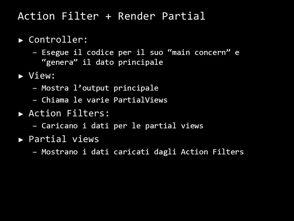 Action Filter + Render Partial Controller: –Esegue il codice per il suo main concern e genera il dato principale View: –Mostra loutput principale –Chi